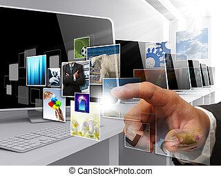 immagini, flusso continuo, internet