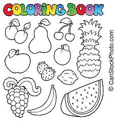 immagini, libro colorante, frutte