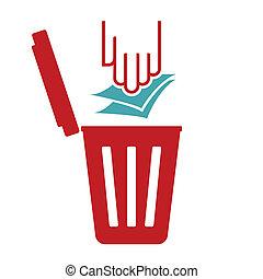immondizia, simbolo, carta, riciclare, -