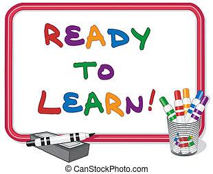 imparare, pronto, whiteboard