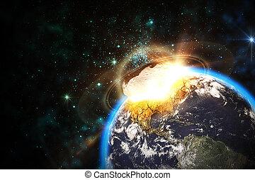impatto, asteroide, scena, spazio