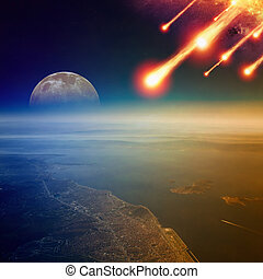 impatto, giudizio, mondo, asteroide, fine, giorno