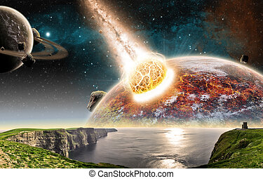 impatto, pianeta, meteorite, spazio