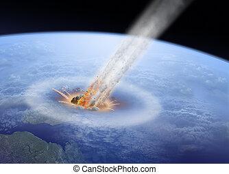 impatto, terra, asteroide