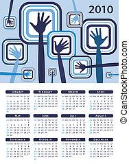 impaurito, mani, calendario, design.