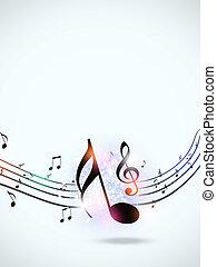 impaurito, note, musica, multicolor