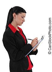 impiegato, blocco note, giovane, scrittura