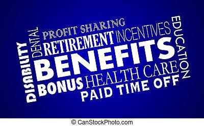 impiegato, cura, assicurazione, salute, benefici, pensionamento, illustrazione, 3d