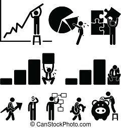 impiegato, finanza, affari, grafico