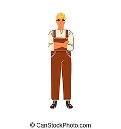 impiegato, mani, o, costruzione, tecnico, ritratto, sorridente, duro, vettore, caposquadra, costruttore, attraversato, appartamento, white., maschio, illustration., cappello, tuta, riparatore, isolato, lavoratore, standing