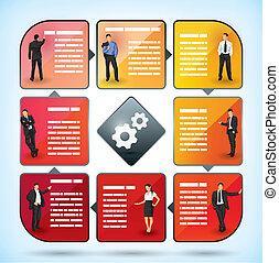 impiegato, presentazione, grafico, affari