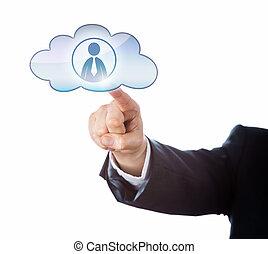 impiegato, toccante, dito, nuvola, icona