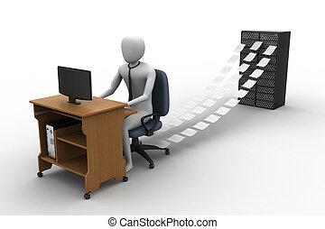 impiegato, ufficio, lavorativo, 3d