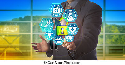 impiegato, uomo affari, dati, sbloccando, sanità