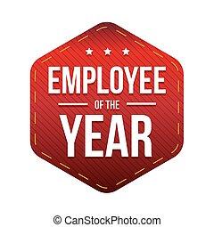 impiegato, vettore, distintivo, anno