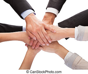impilamento, loro, businesspeople, insieme, mani