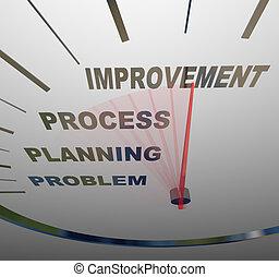 implementing, -, cambiamento, tachimetro, miglioramento