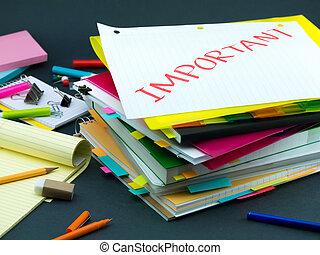 importante, mucchio, affari, documents;