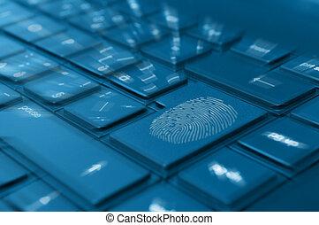 impronta digitale, quaderno, tastiera