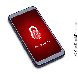 impronta digitale, telefono, scansione, far male