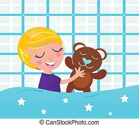 in pausa, orso teddy, sognare, carino, ragazzo