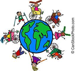 incapacità, bambini, mondo