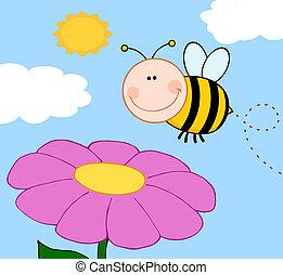 incespicare, sopra, volare, fiore, ape