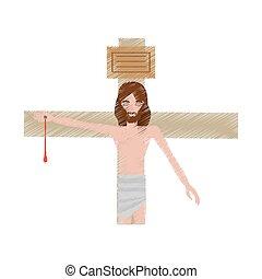 inchiodato, disegno, gesù cristo, croce