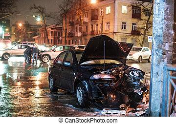 incidente, poco profondo, strada, automobile, notte, campo, profondità