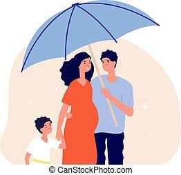 incinta, sociale, metafora, proteggere, child., adulti, assicurazione, concept., sotto, felice, illustrazione, son., vita, famiglia, moglie, genitori, uomo, ombrello, vettore, protezione, presa a terra