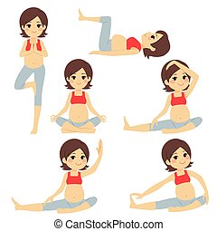 incinta, yoga, brunetta, donna, pose