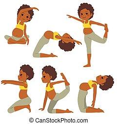 incinta, yoga, donna nera, pose