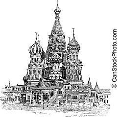 incisione, basil's, santo, vendemmia, mosca, cattedrale, russia
