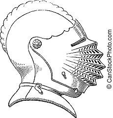 incisione, casco, secolo, vendemmia, quindicesimo, galea, o
