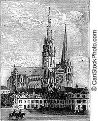 incisione, chartres, vendemmia, chartres, francia, cattedrale, durante, 1890s