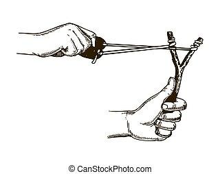 incisione, fionda, vettore, illustrazione, mani