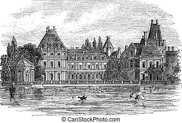 incisione, fontainebleau palace, vendemmia, parigi, francia