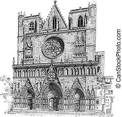 incisione, francia, lyon, lyon, cattedrale, vendemmia