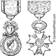 incisione, medaglia, onore, legione, vendemmia, croce, militare