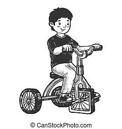 incisione, ragazzo, schizzo, quadrato, illustration., triciclo, graffio, stile, mano, imitation., vettore, asse, disegnato, ruote, capretto, bambini, image.