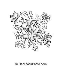 incisione, schizzo, fiore, bouquet., fondo, floreale