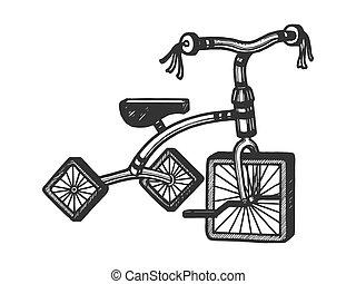 incisione, schizzo, quadrato, illustration., triciclo, graffio, stile, mano, imitation., vettore, asse, disegnato, ruote, bambini, image.