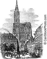 incisione, strasburgo, vendemmia, francia, cattedrale, nostro, signora, o