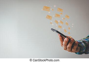 incisione, telefono, technology., icona, email, presa a terra, o, transactions., clienti, cellula, marketing, concetto, uomo, message., primo piano, linea, invio, informazioni, affari