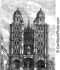 incisione, vendemmia, dijon, francia, borgogna, cattedrale