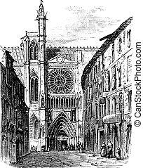 incisione, vendemmia, francia, auvergne, cattedrale, clermont-ferrand