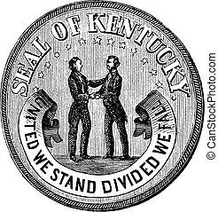 incisione, vendemmia, stato, sigillo kentucky