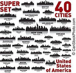 incredibile, stati, unito, set., orizzonte, città, america.