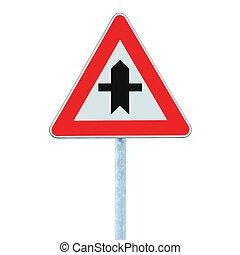 incrocio, polo, isolato, segno, avvertimento, strada principale
