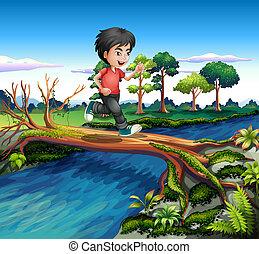incrocio, ragazzo, mentre, fiume, correndo